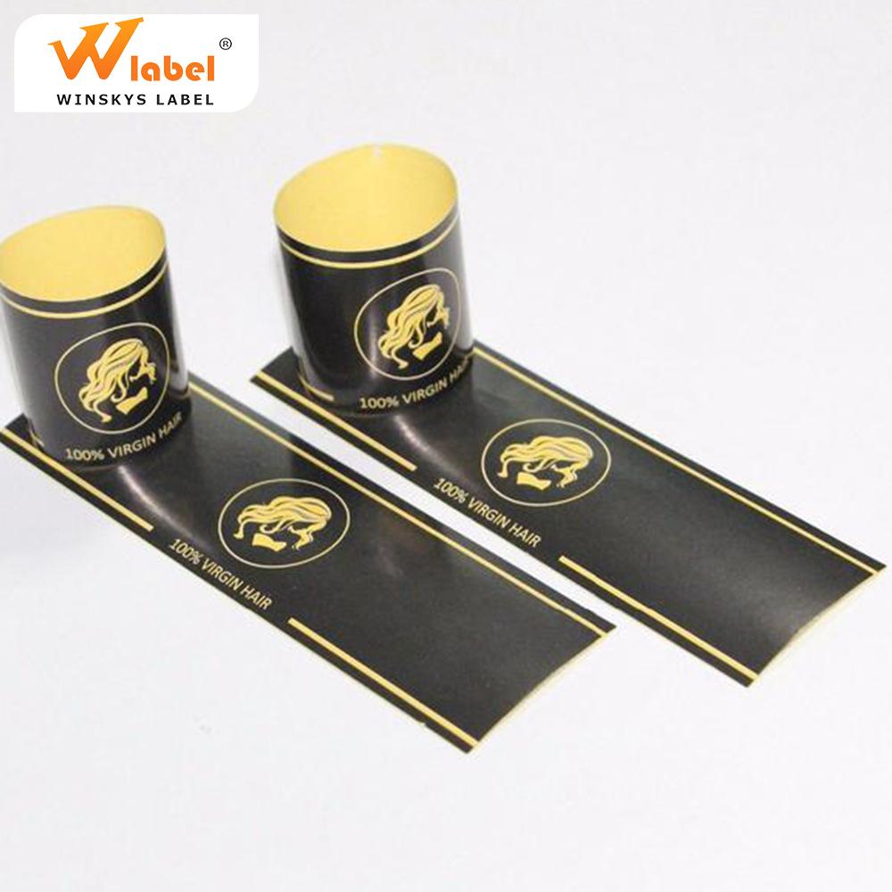 Wholesale price custom extension wig hair bundle package adhesive labels stickers