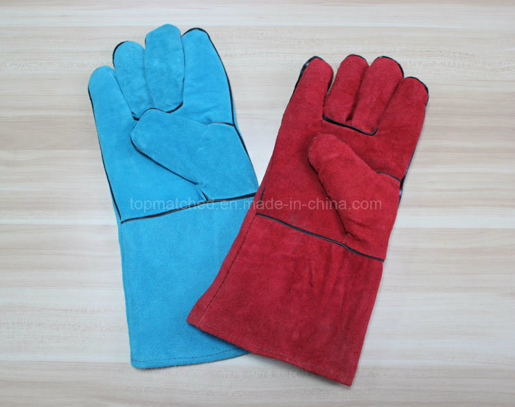 14′′ Full Cow Split Leather Gloves Industrial Safety Labor Protective Welding Work Gloves pictures & photos