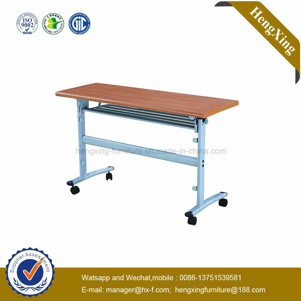 Metal Bookshelf Attached Wooden Top School Training Study Folding Tables pictures & photos