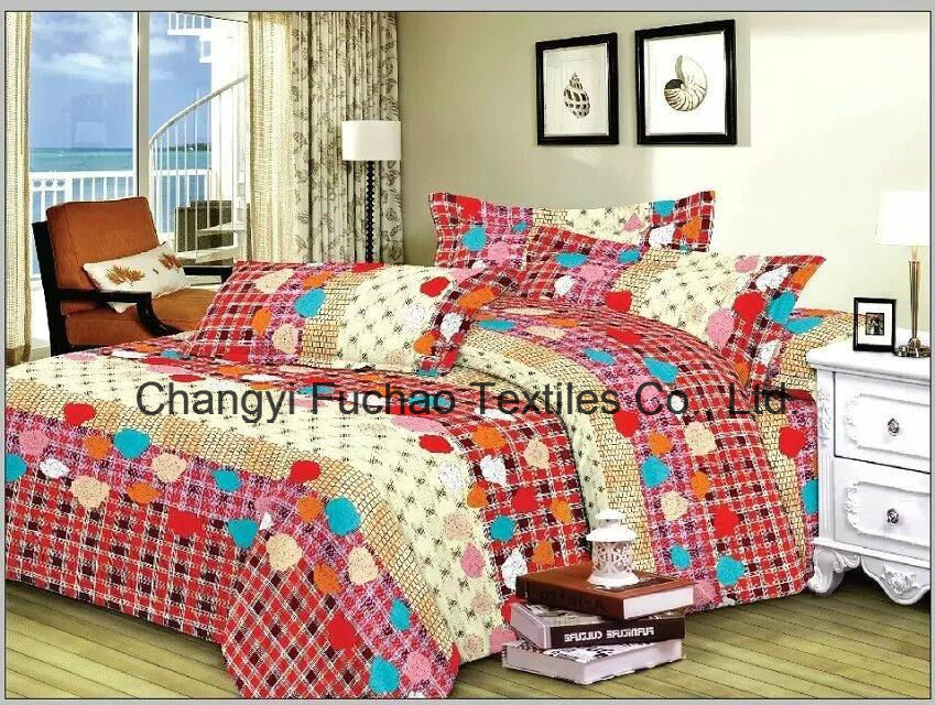 100% Polyester Microfiber Plain Dyed Cheap Bed Sheet Set Bedding Set pictures & photos