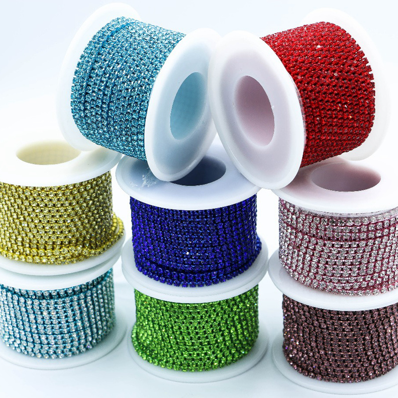 1 meter cup chain brass base strass blue transparent Top quality