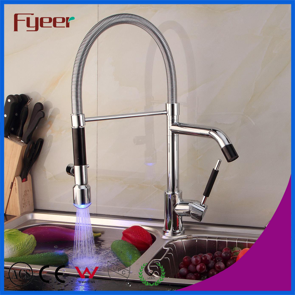 China Fyeer High Quality Double Sprayer LED Kitchen Sink Faucet ...