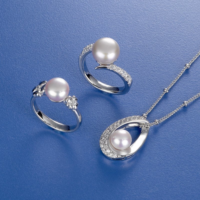 Pearl Necklace Ring Jewelry Set
