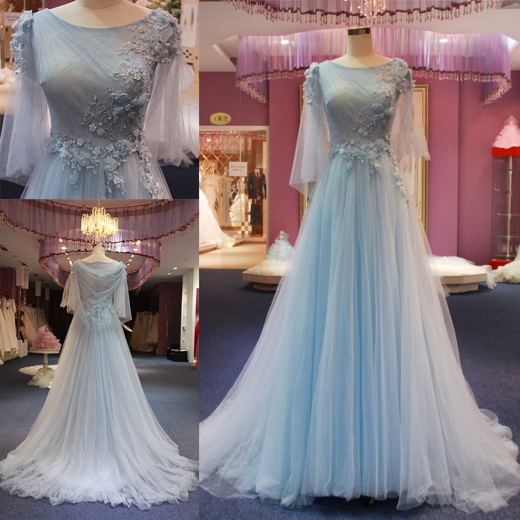 China Light Blue Long Sleeves Ladies Fashion Party Dress Evening ...