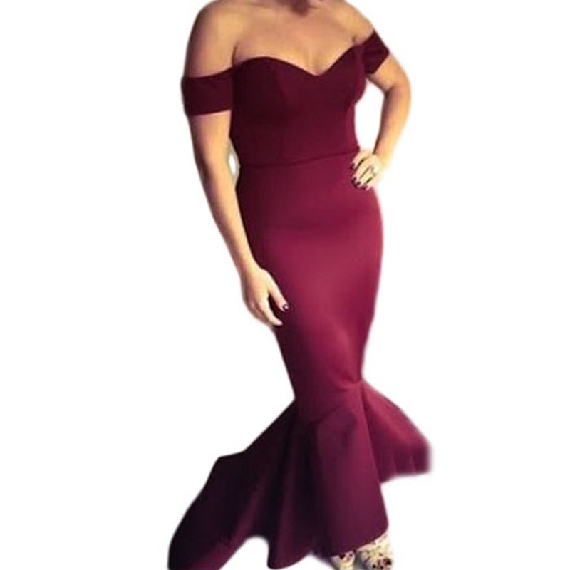 Fashion Women Black off Shoulder Mermaid Jersey Cocktail Evening Dress pictures & photos