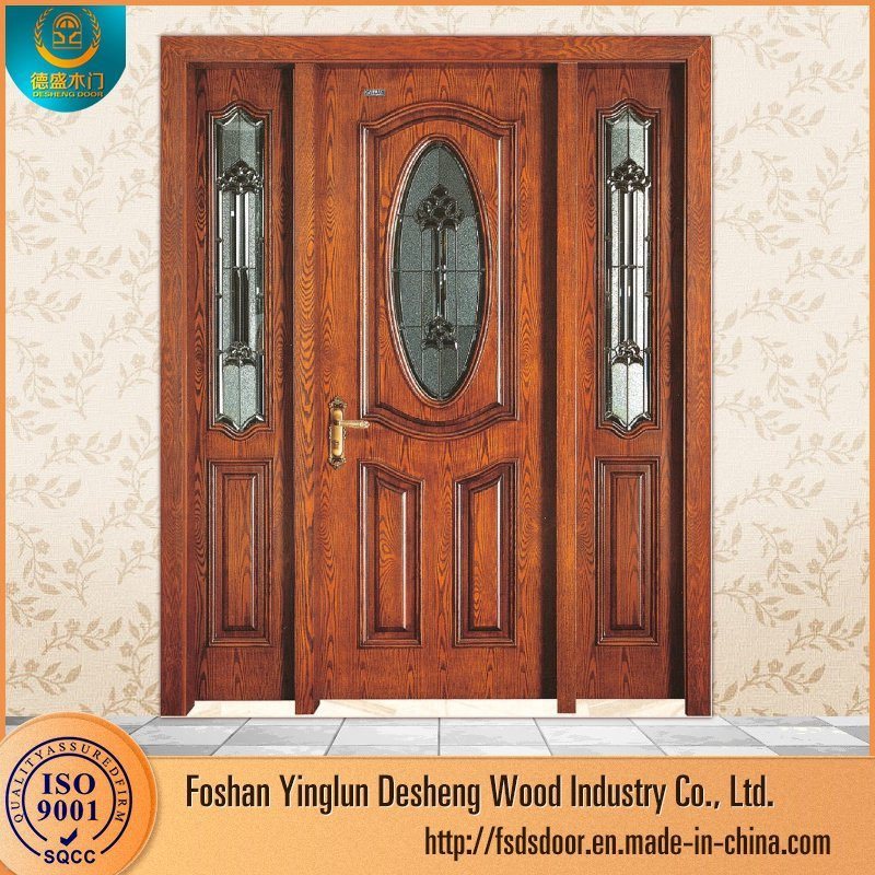 Desheng Half Glass Double Swing Interior Teak Wood Doors