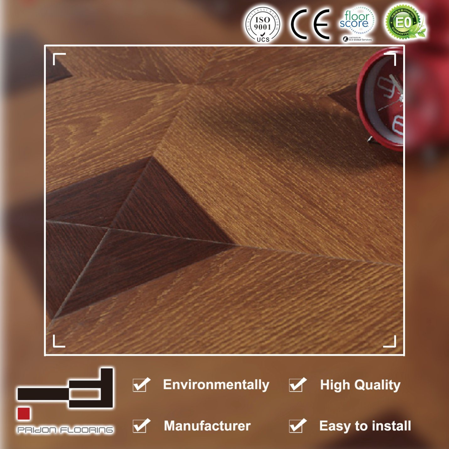 8mm Middle Embossment Parquet V Buckle Laminate Laminated Flooring