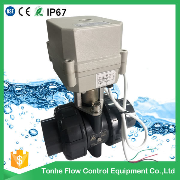 2 Way Mini 1 1/2′′ Inch Motorized PVC Valve Electric Actuator Water Ball Valve