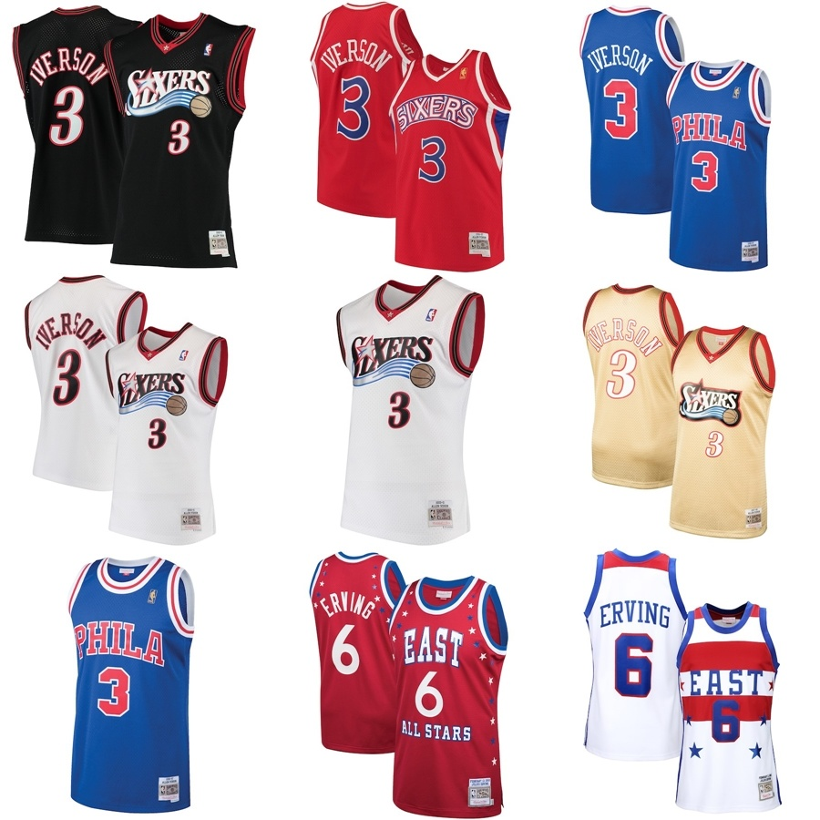 sports shoes fed9c e26b6 [Hot Item] Philadelphia 76ers Allen Iverson Julius Erving Classics Swingman  Basketball Jerseys