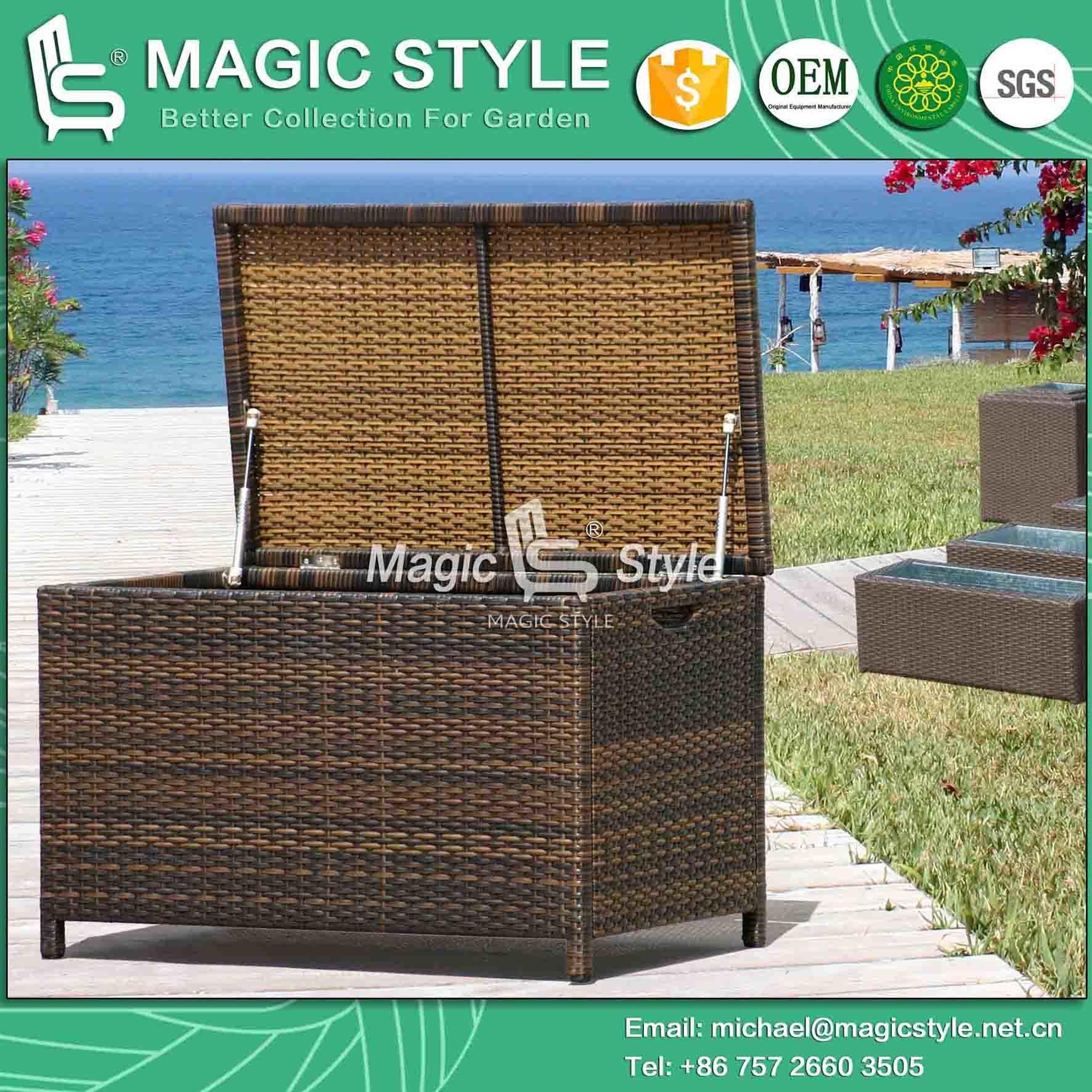China Synthetic Wicker Cushion Box Garden Storage Waterproof Cushion ...