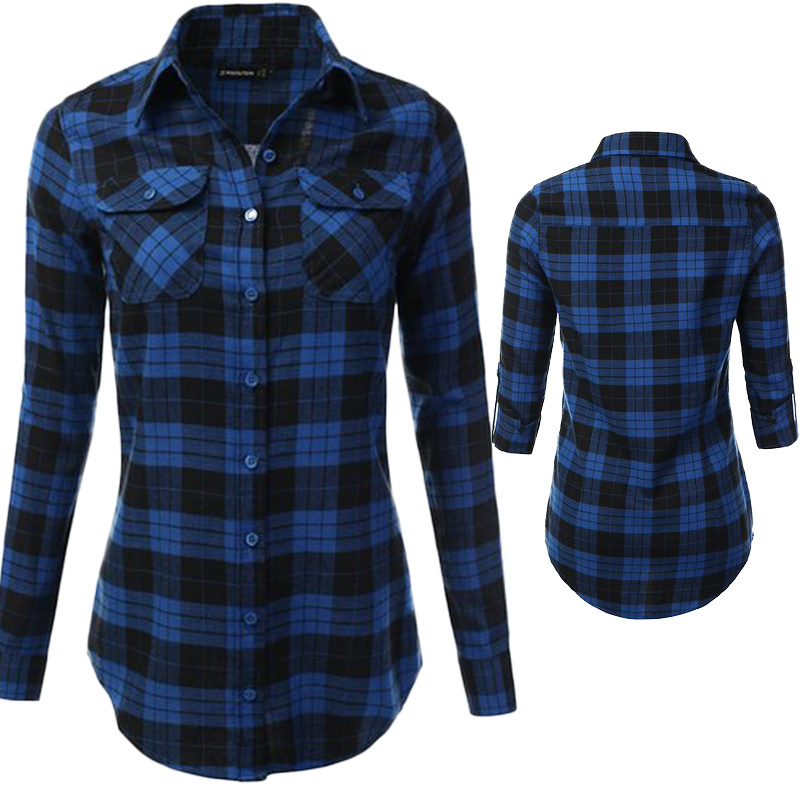 23a87898 China Women′s Long Sleeve Plaid Checkered Flannel Button Down Shirt - China  Checkered Flannel Shirt, Women′s Checkered Shirt
