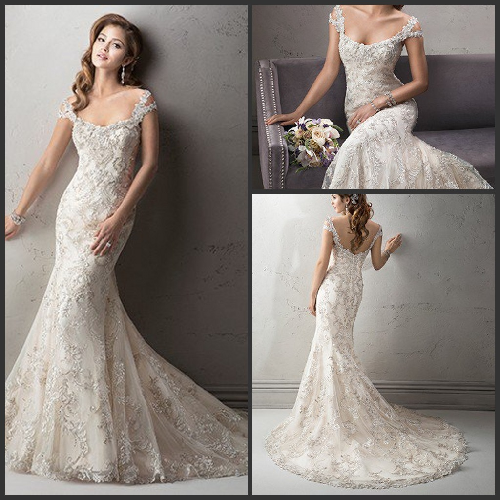 China Champagne Bridal Gowns Silver Beading Wedding Dress S201748 Gown
