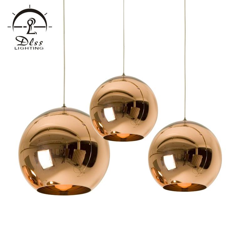 China Decorative Modern Copper Pendant Lighting Polish Lacquer Mirror Gl Hanging Lamp Light
