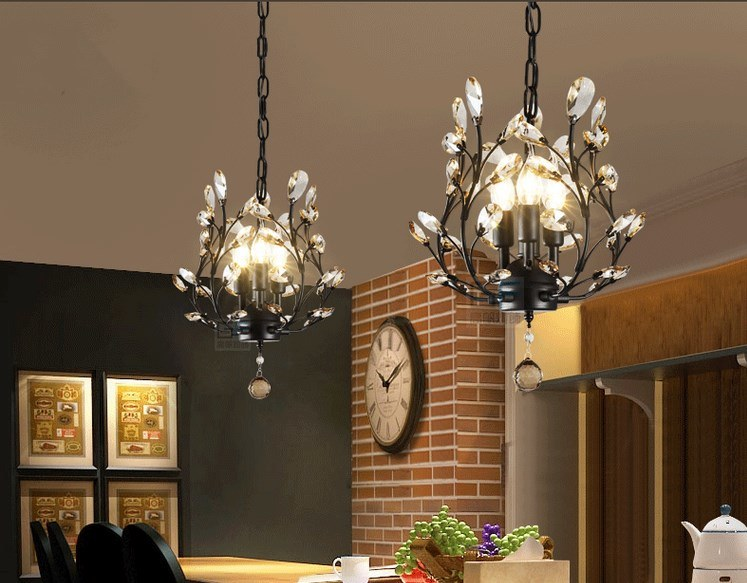 China Crystal Chandeliers Ceiling Lights Crystal Pendant Lighting Ceiling Light Fixtures 3 Lights Black Golden China Crystal Lamp Pendant Lighting