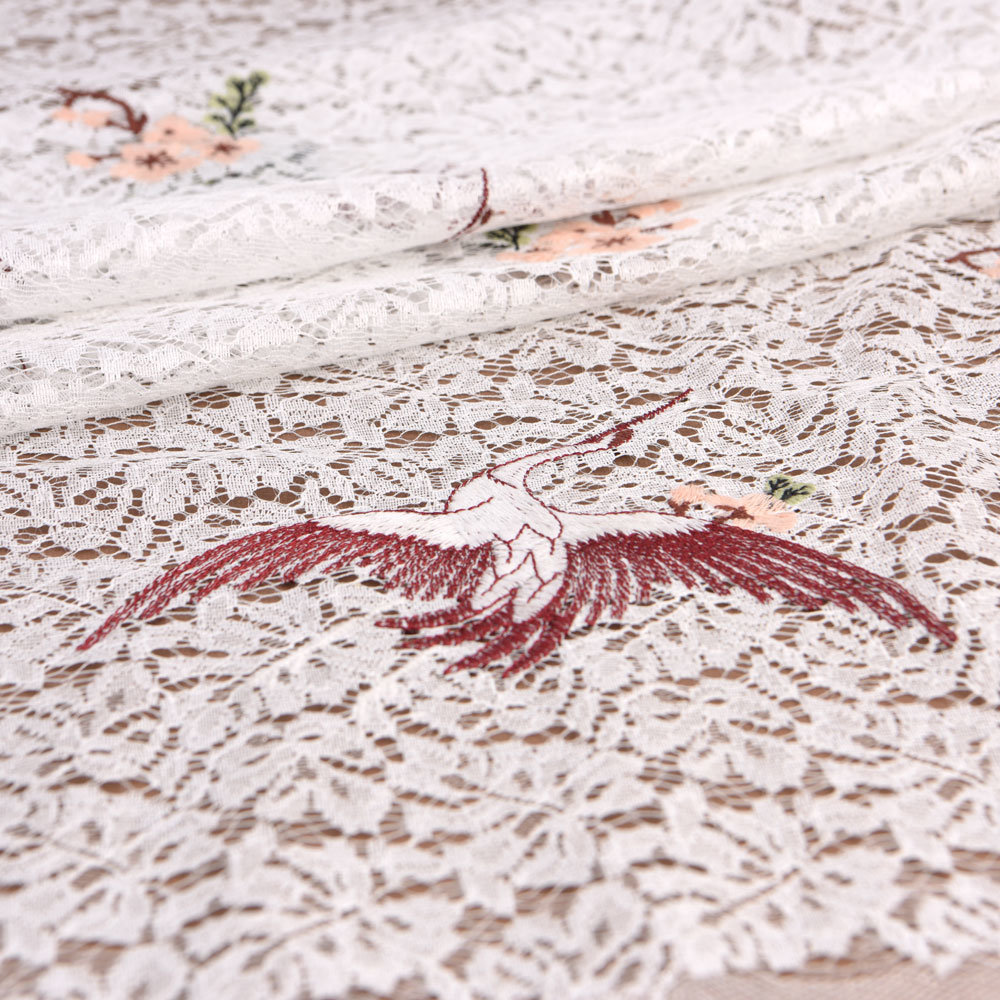 Embroidered White Crane Cotton Lace Fabric pictures & photos