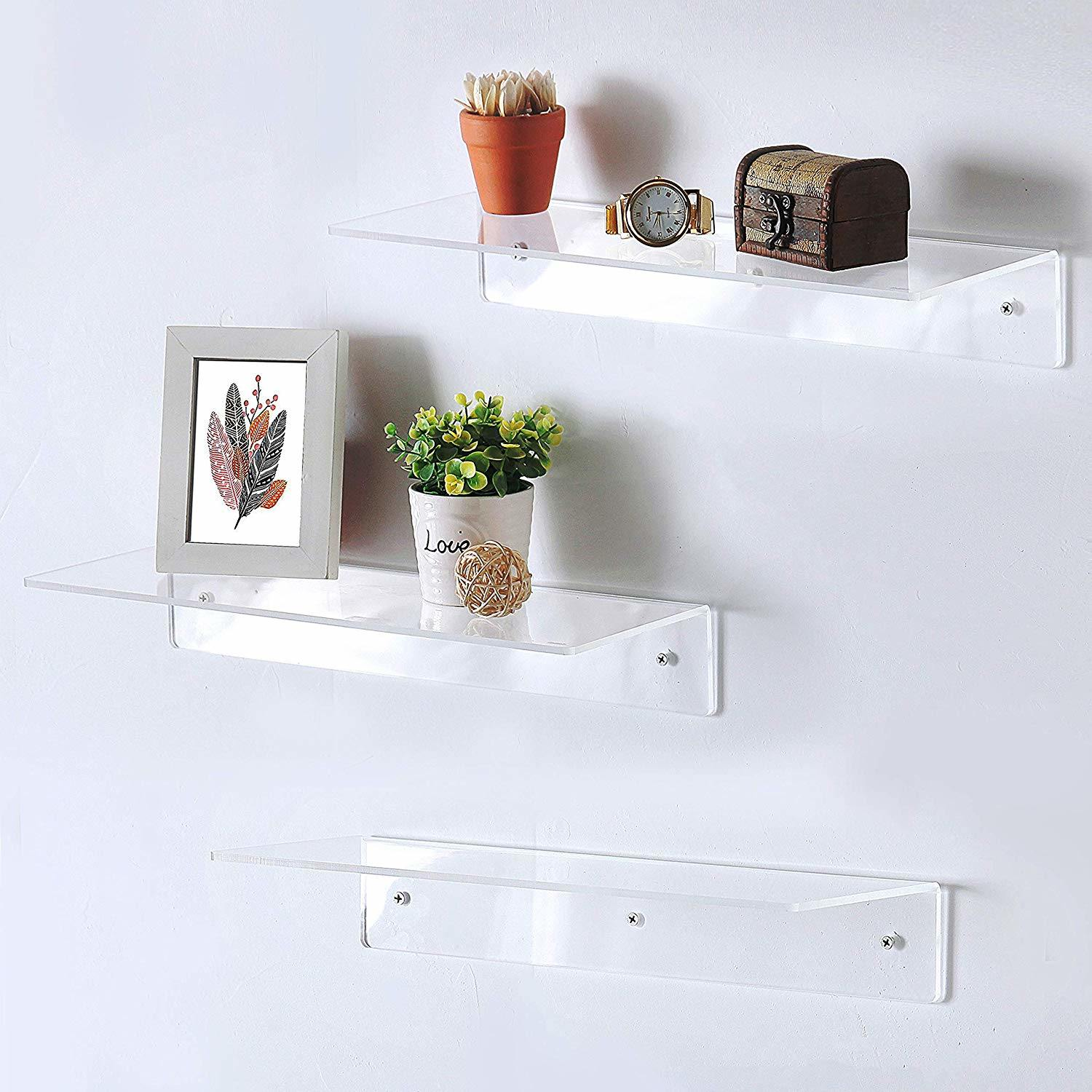 Hot Item Clear Wall Mounted Acrylic Floating Bathroom Acrylic Display Shelves