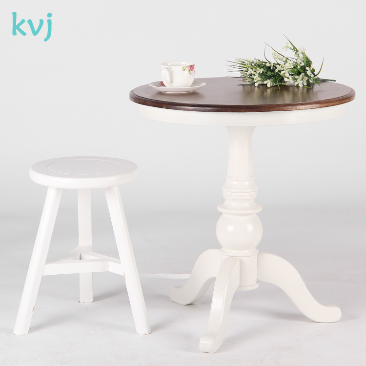 Hot Item Kvj 7521 Round Antique White French Solid Wood Side Table