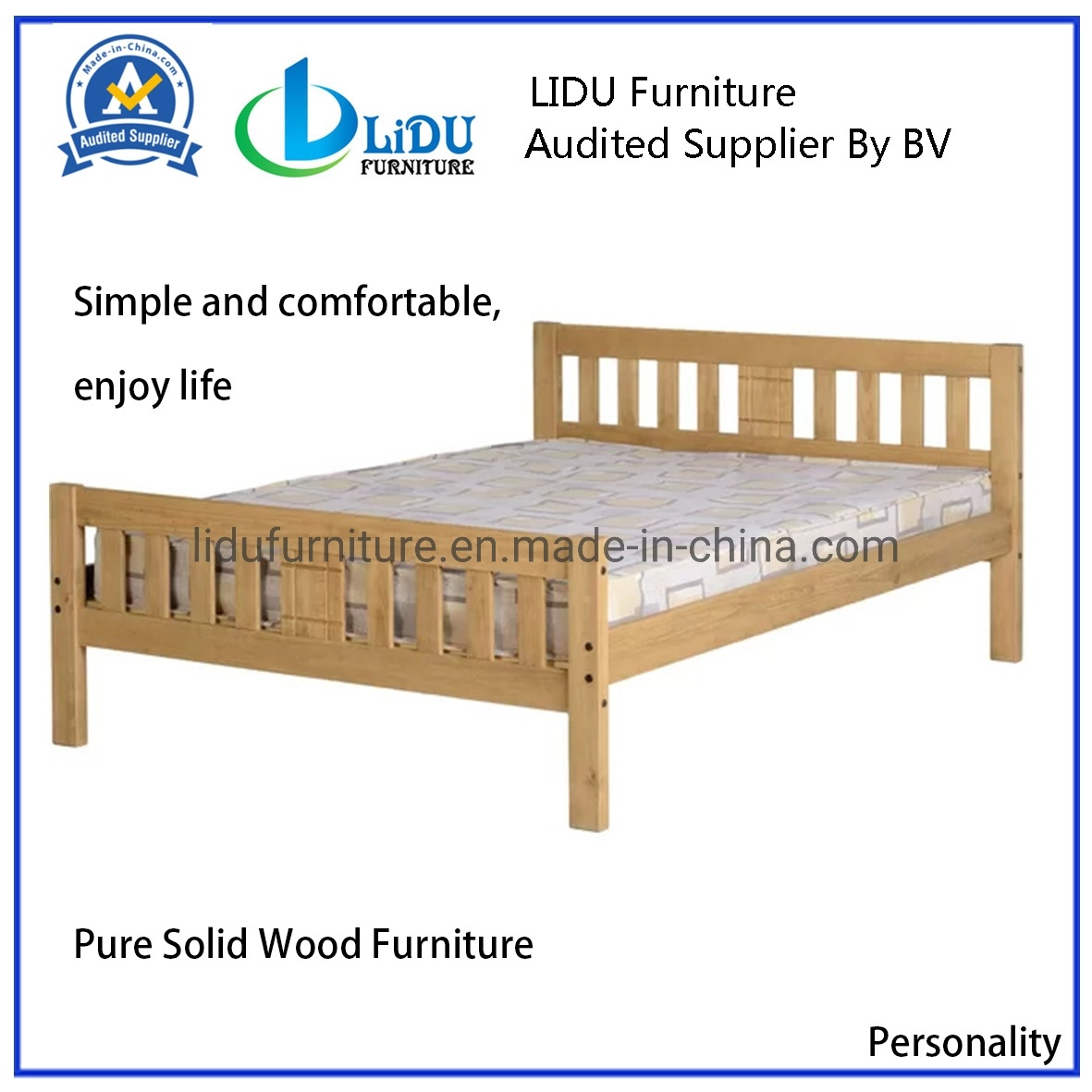 [Hot Item] Hot Sale Solid Wood Bed Oak Bed Bedroom Furniture Wooden Bed  Double Comfortable Bed Wooden Bed Bunk Bed Children′s Bed Safe Bed Kids Bed
