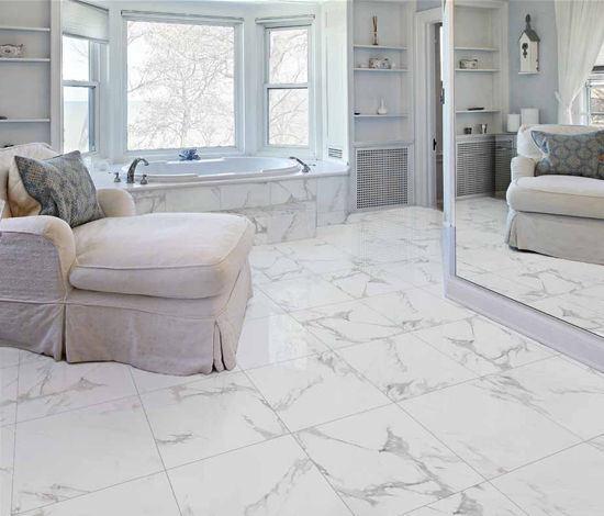 China Carrara White Full Polished Glazed Porcelain Floor Tile For