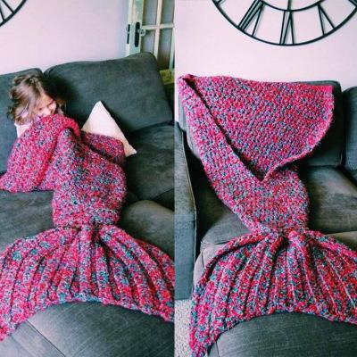 China Crochet Children Sleeping Bag Mermaid Tail Blanket China