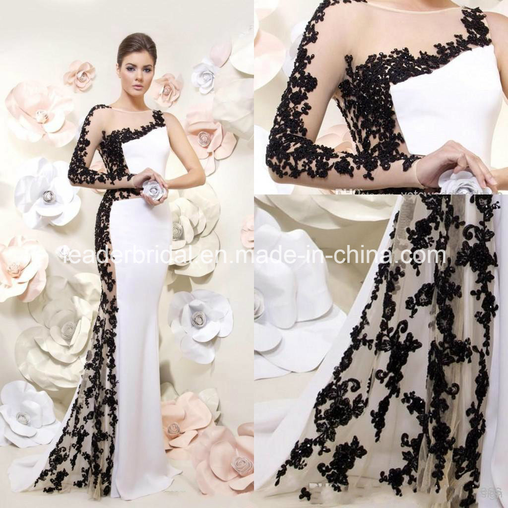 China Sheer Party Gown Black White Lace Sleeves Evening Dress ...
