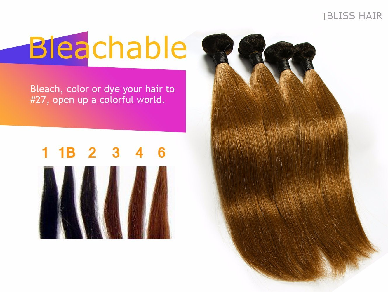 China Brazilian Remy Straight Two Tone Color 100 Human Hair Weave