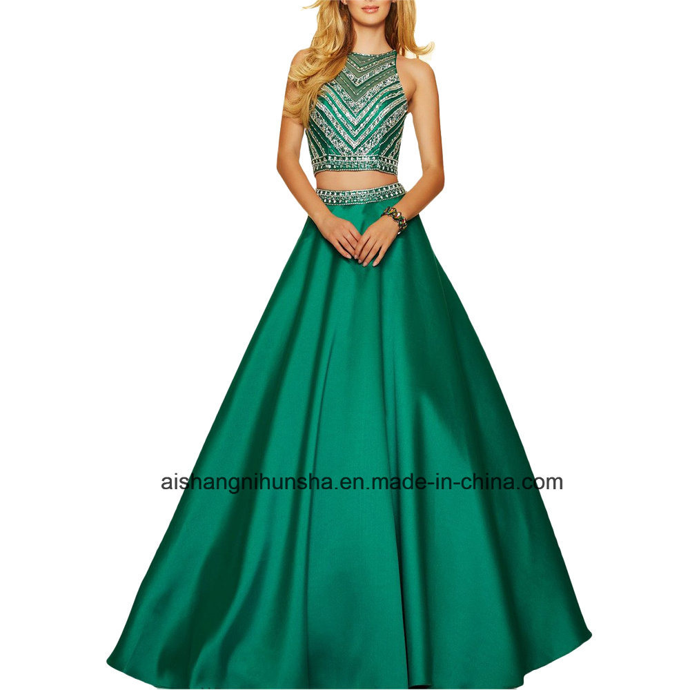 China Women Two Piece Beading Bodice Chiffon Evening Dress Porm ...