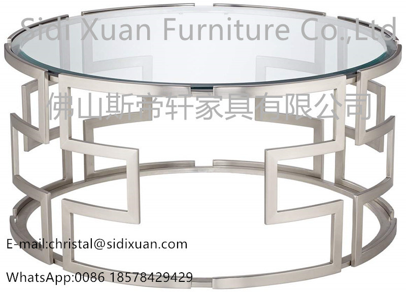 China Modern Silver With Clear Glass Geometric Stainless Steel Round - Geometric round coffee table
