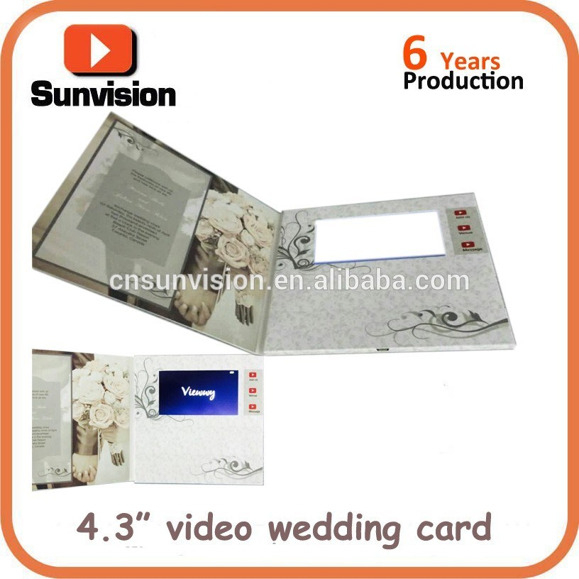 "Custom 4.3"" LCD Video Greeting Card Invitation Music Gift Card"