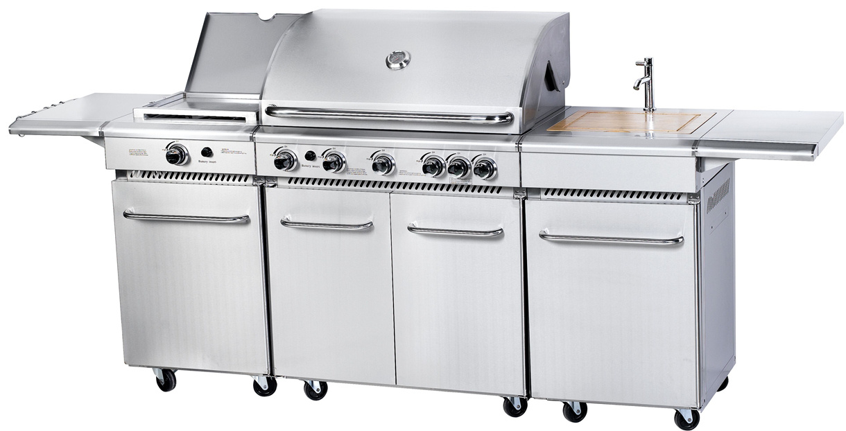 5 Burner Stainless Steel Outdoor BBQ Kitchen with Cabinet