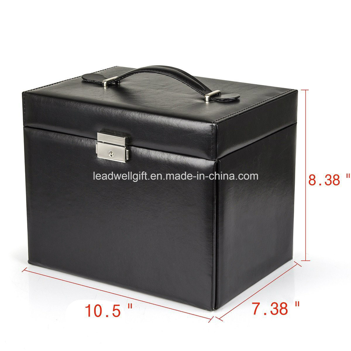 Black Leather Jewelry Box Travel Case and Lock pictures & photos