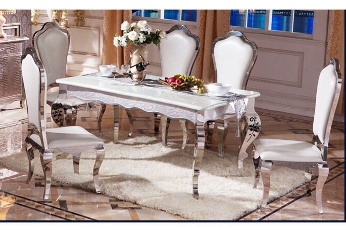 China Dining Table Set Glass Luxury Stainless Steel Glass Dining ...