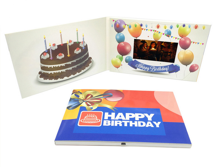China Happy Birthday Lcd Brochure Video Greeting Card 43inch