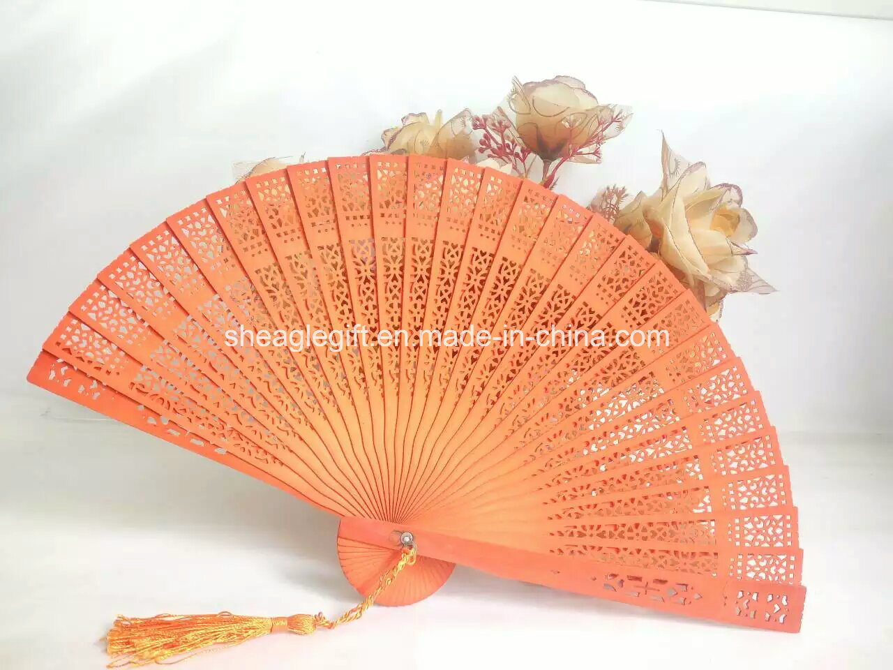 Promotional Gifts Engrave Logo Wooden Hand Fan pictures & photos