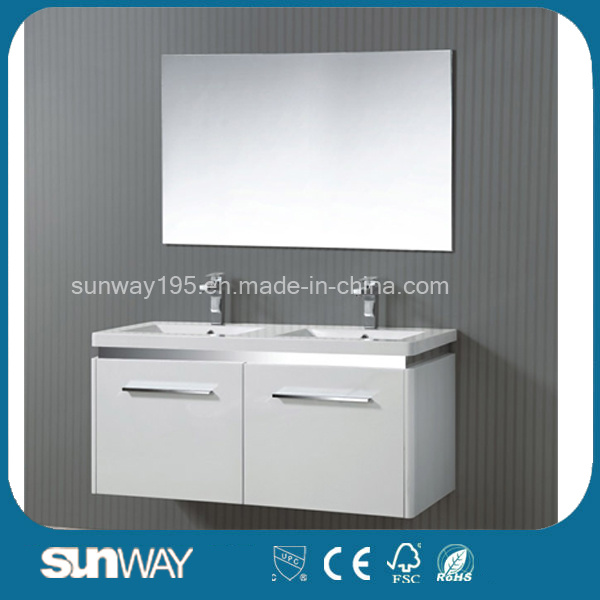 New Hot Double Sinks Sale MDF Bathroom Cabinet with Mirror Cabinet Sw-1504