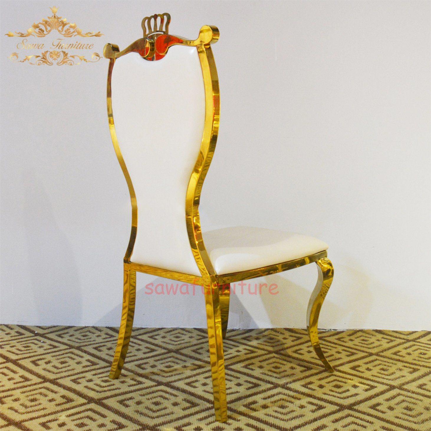[Hot Item] Gold Restaurant Wedding Chair Gold Stainless Steel Chair Gold  Hotel Wedding Chair