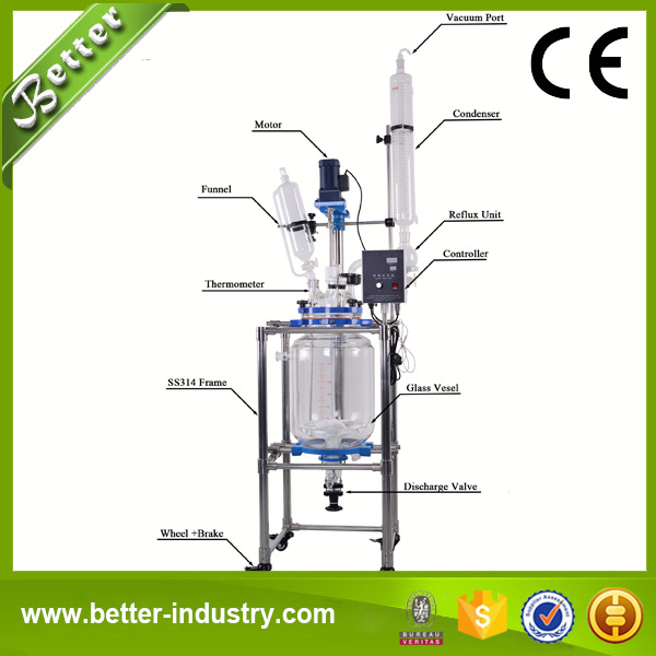 china jacketed glass reactor with chiller - china jacketed glass reactors,  borosilicate glass reactor