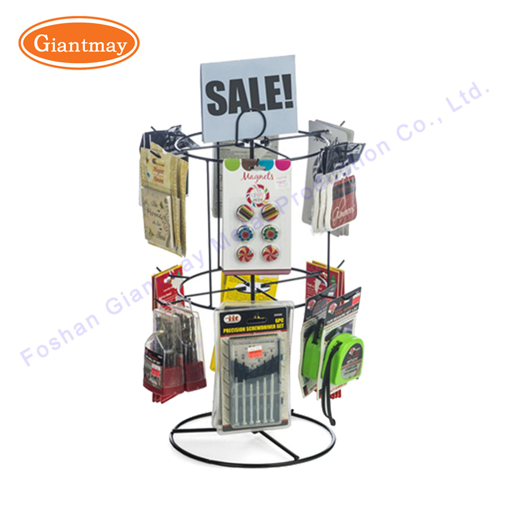 2 Tier Wire Metal Table Counter Top Spinner Shelves Display Rack For Small Products