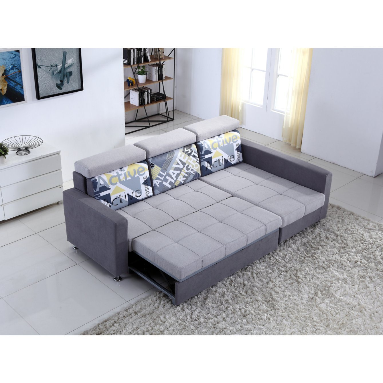 China Small L Shaped Fabric Sofa with Sofa Bed Function