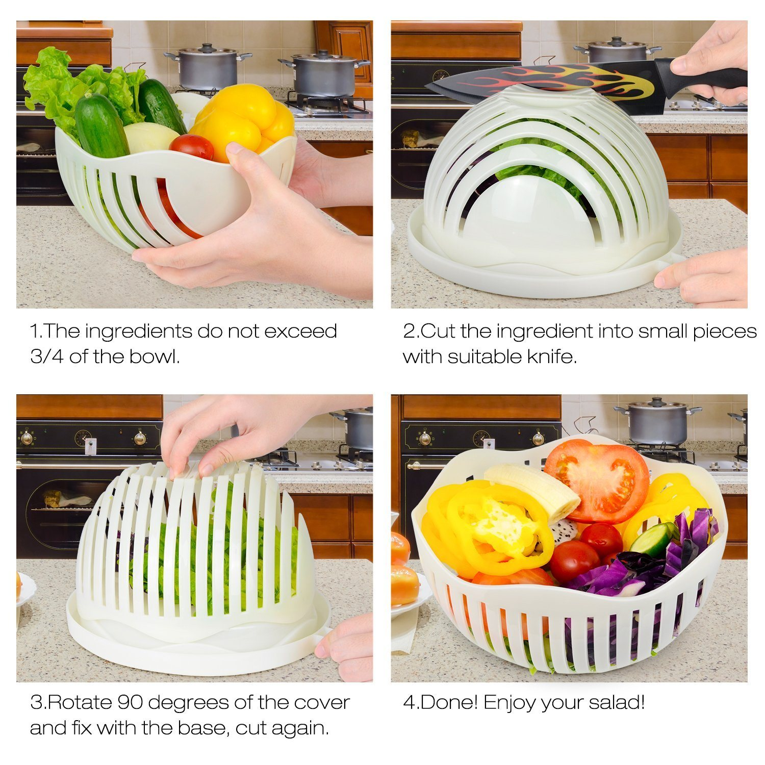China All In One Salad Maker Slicer Strainer Cutting Bowl