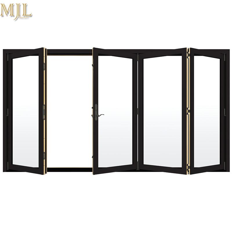 China Aluminum Frame Tempered Glass Bifold Folding Exterior Doors