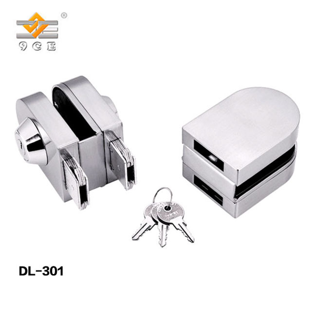China Mirror Finish Sliding Door Hook Lock Glass With Keys
