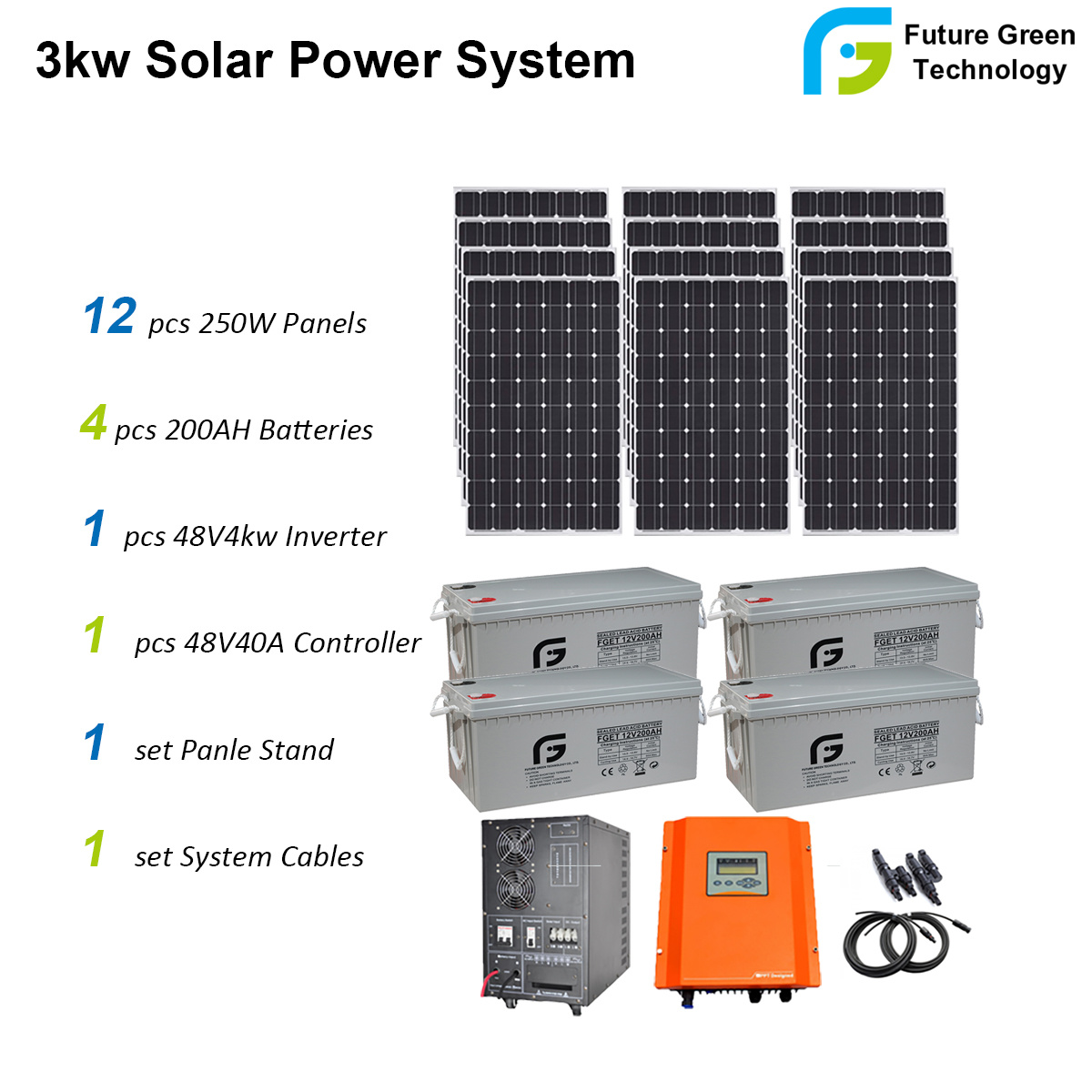 [Hot Item] 3kw Home Use off Grid Solar PV Panel Energy Power System Kit