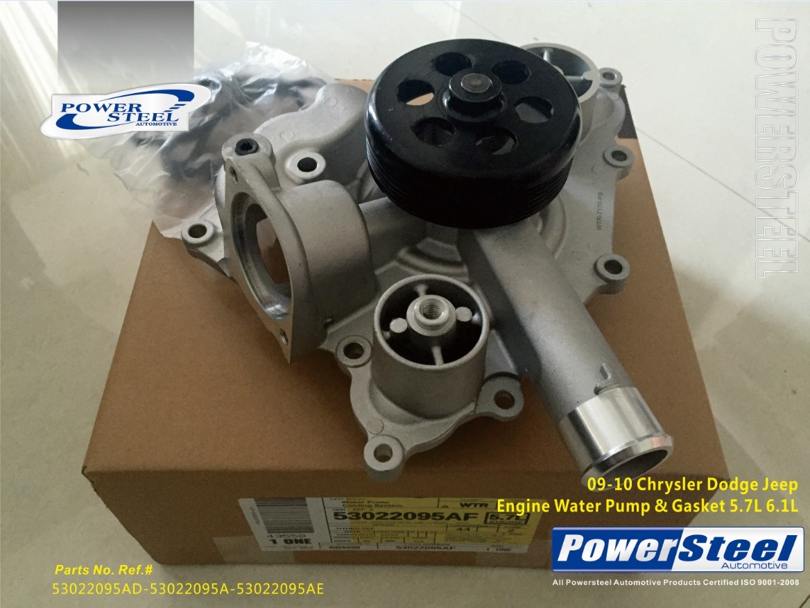 China 53022095ad 53022095a 53022095ae Powersteel Water Pump For 09 Jeep Engine Parts 10 Chrysler Dodge New Gasket 57l 61l