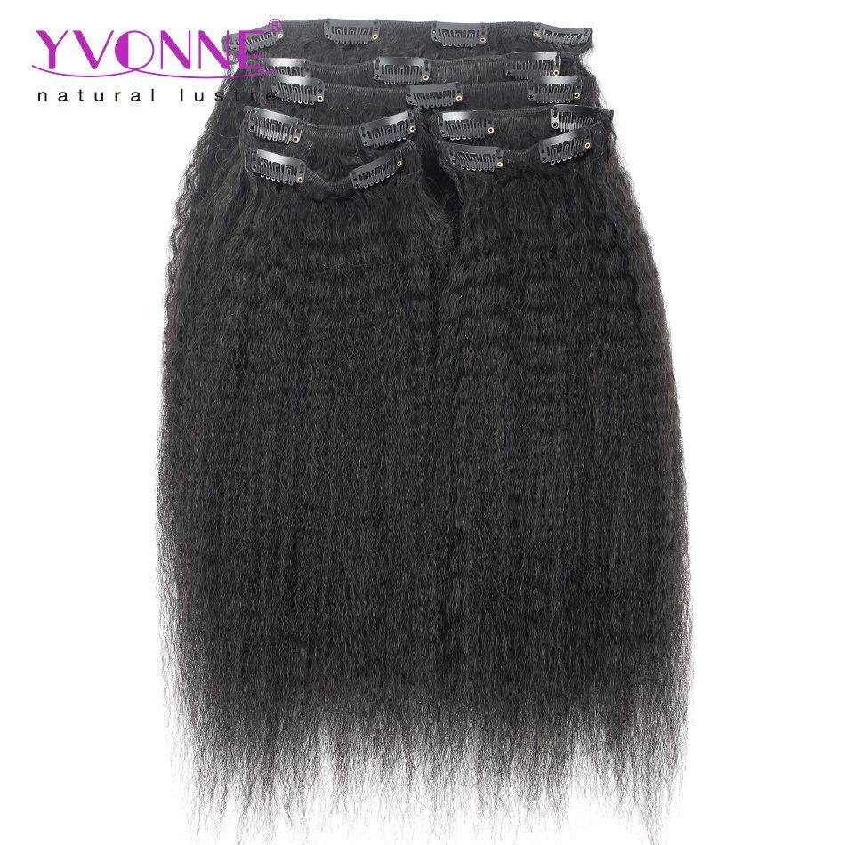 China Yvonne Top Sales Kinky Straight Human Hair Clip In Extensions