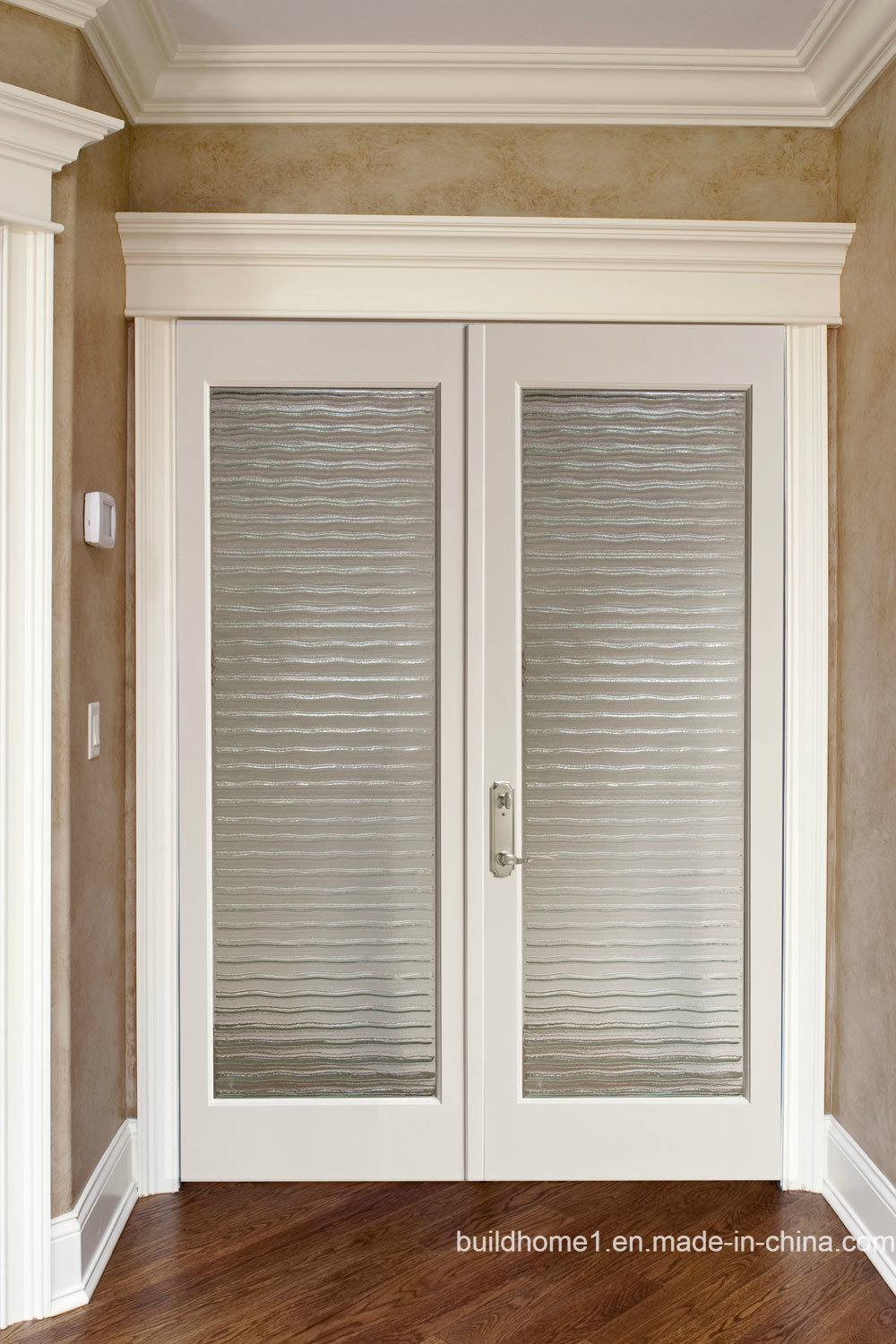 China Double Glazing Internal Blinds Walnut Wood Front Main Entrance