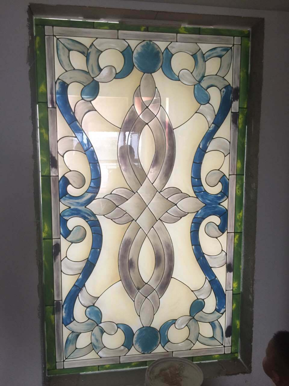China New Design Tiffany Pattern Stained Glass Panel Window Photos
