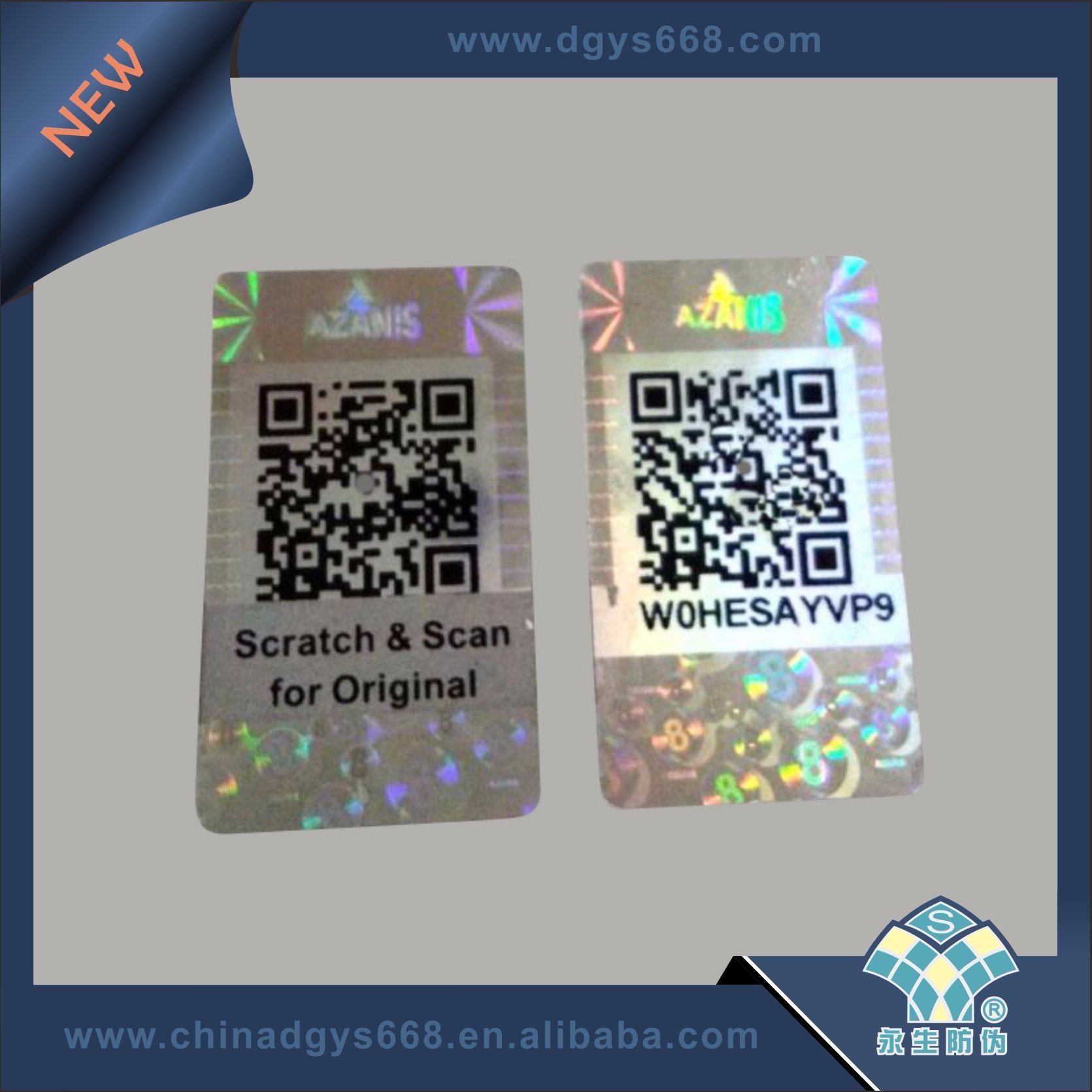 Hologram stickers label with qr code customized design in china