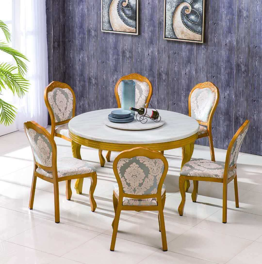 [Hot Item] French Style Dining Room Classic Designs Heavy-Duty Aluminium  Banquet Dining Vintage Golden Chair
