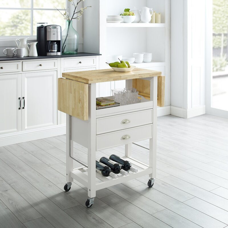 China American Home Styles High Quality Uv Painting 2 Drawer Rolling Kitchen Cart With Expandable Rubber Wood Top China Kitchen Cart Tray Trolley